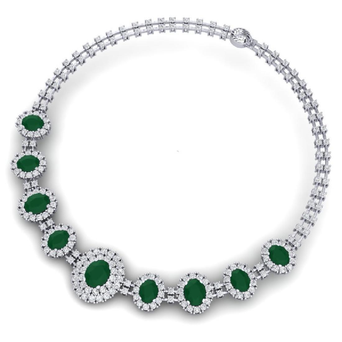 45.69 CTW Royalty Emerald & VS Diamond Necklace 18K - 2