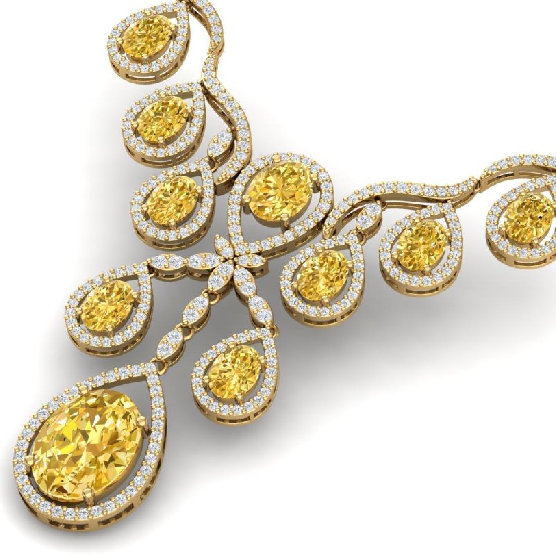36.51 CTW Royalty Canary Citrine & VS Diamond Necklace - 2