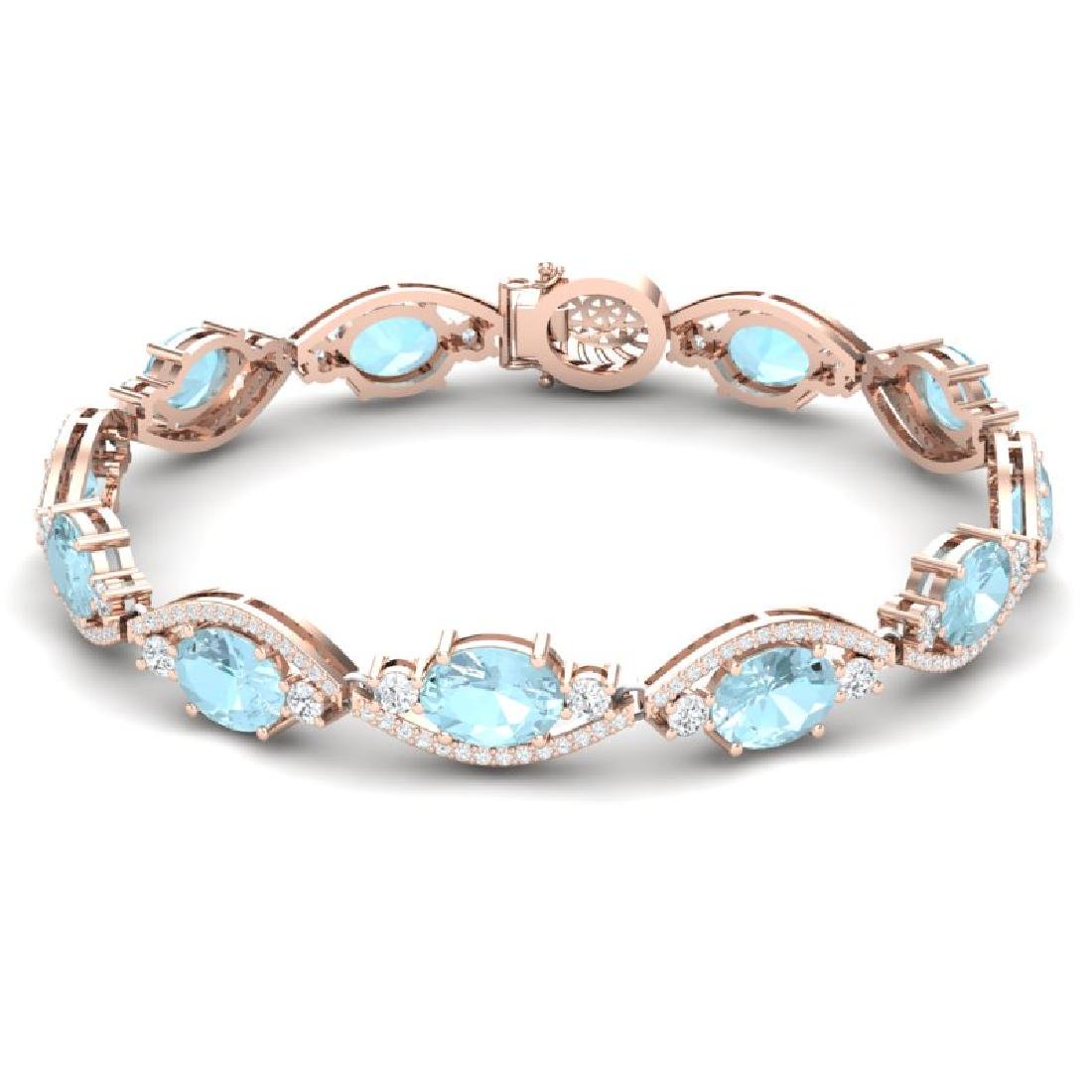 21.6 CTW Royalty Sky Topaz & VS Diamond Bracelet 18K - 2