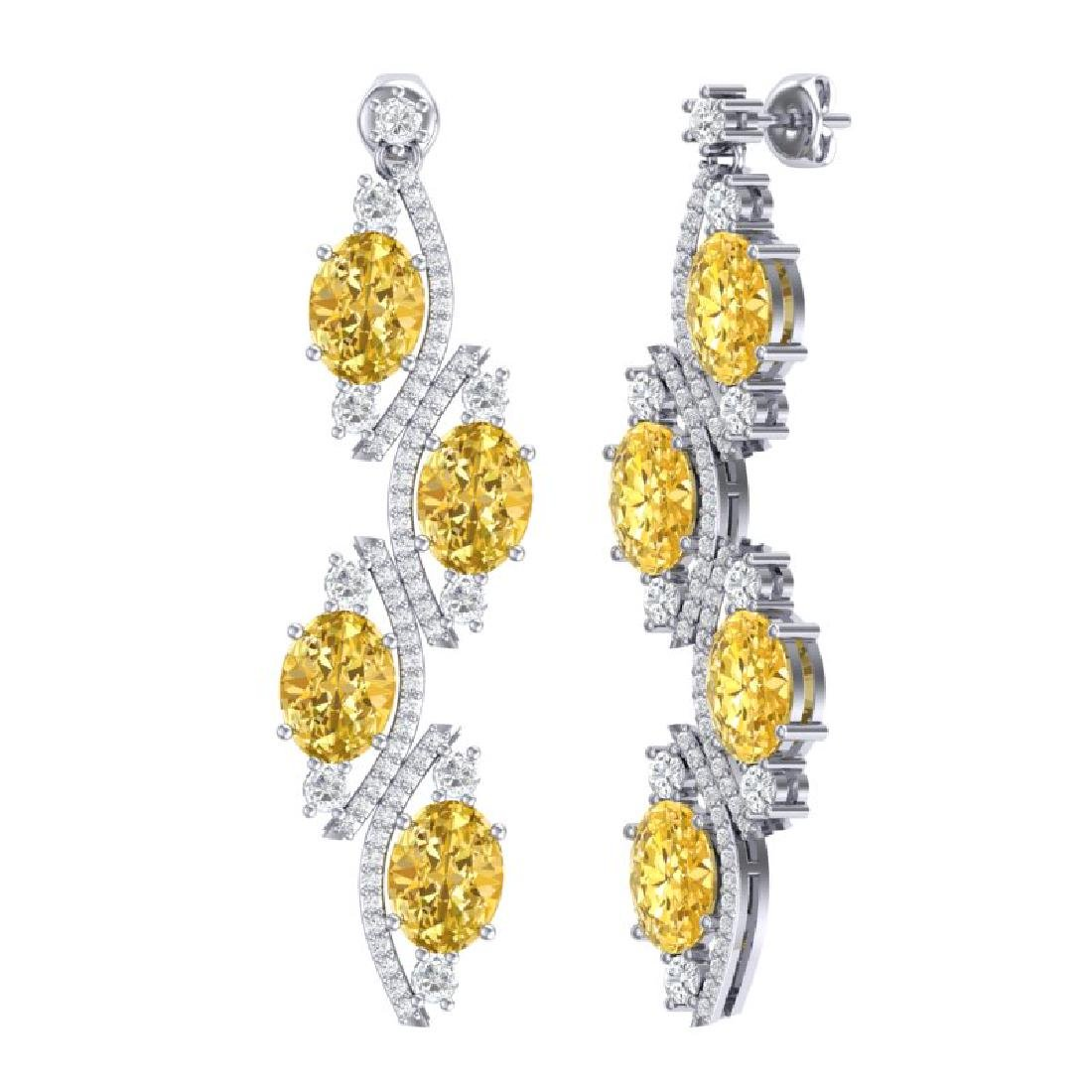 13.32 CTW Royalty Canary Citrine & VS Diamond Earrings - 3
