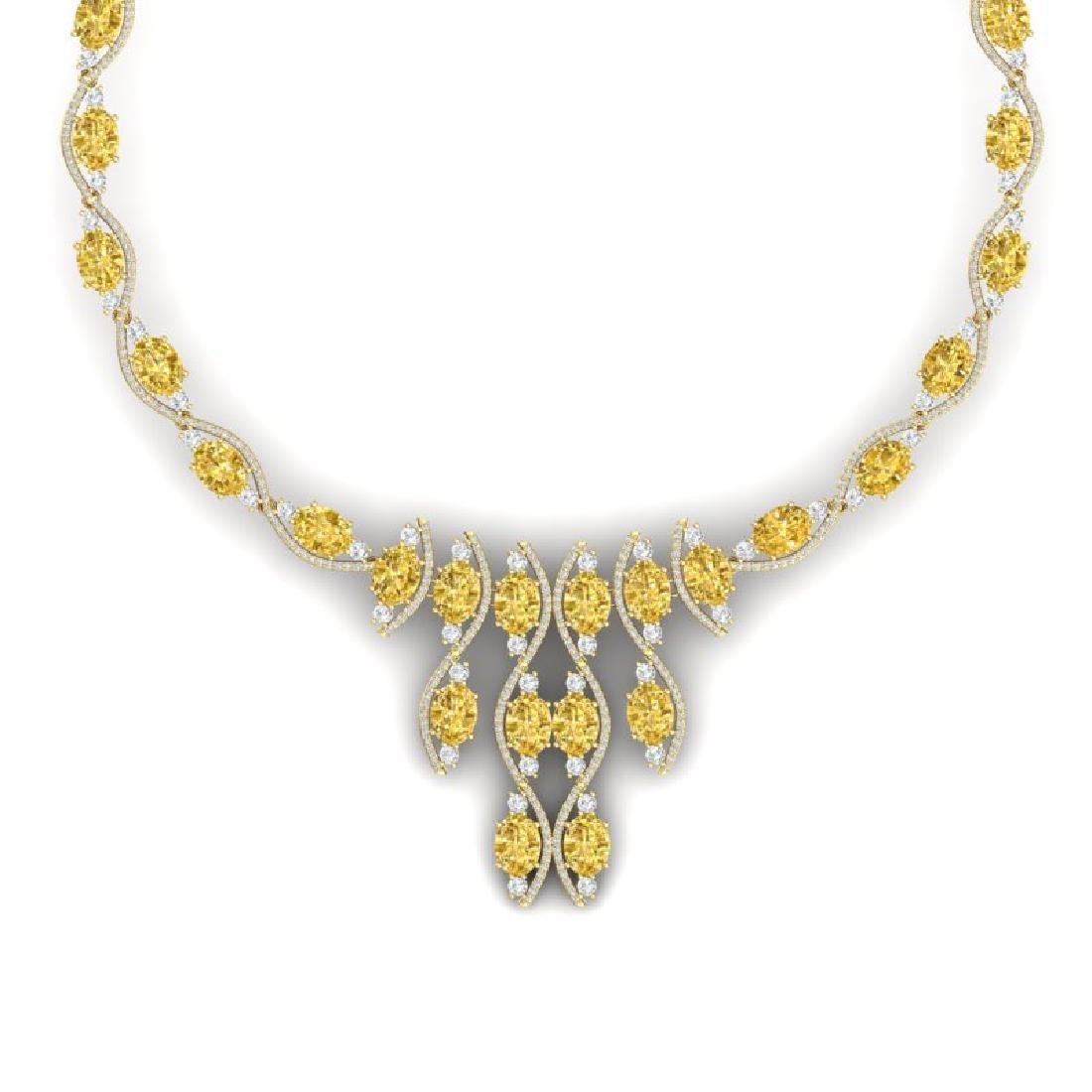64.04 CTW Royalty Canary Citrine & VS Diamond Necklace - 2