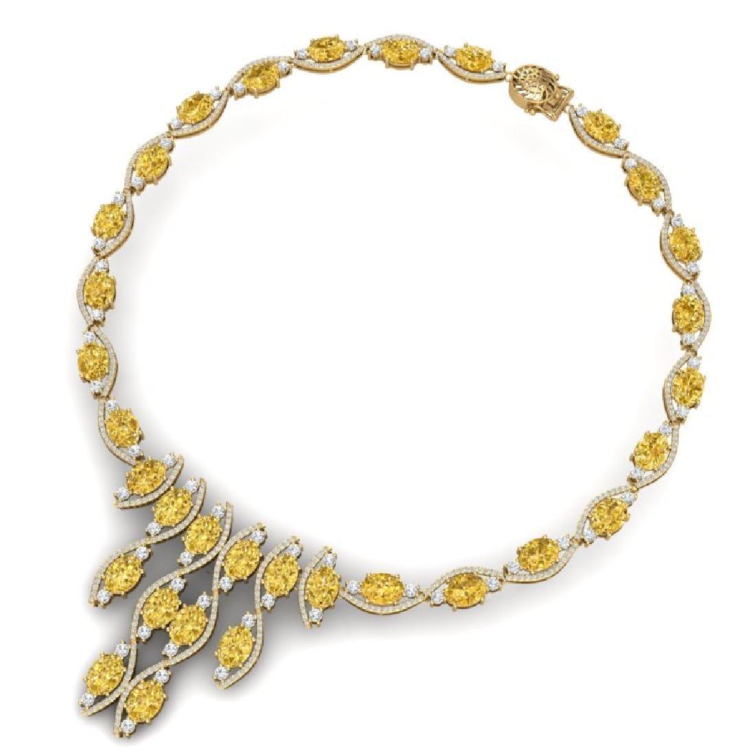 64.04 CTW Royalty Canary Citrine & VS Diamond Necklace - 3