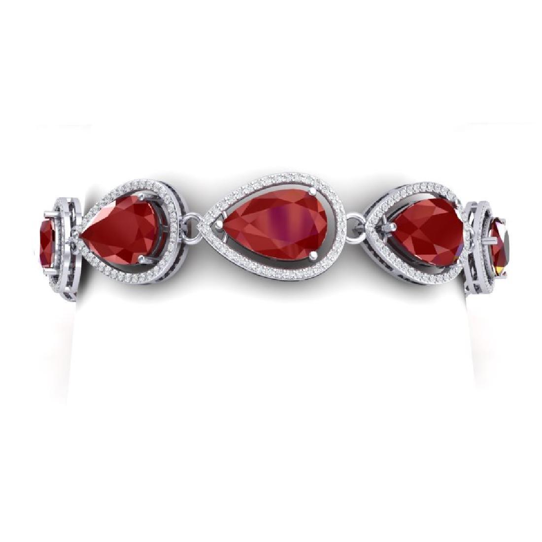 28.31 CTW Royalty Ruby & VS Diamond Bracelet 18K White