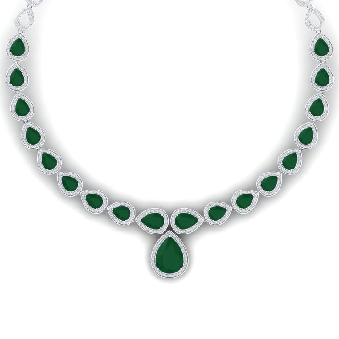 51.41 CTW Royalty Emerald & VS Diamond Necklace 18K