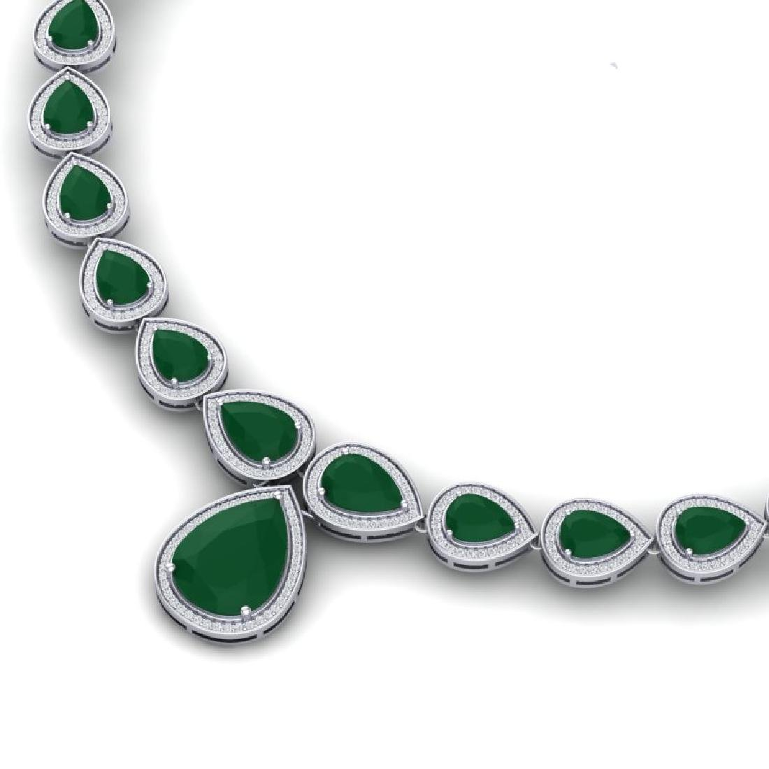 51.41 CTW Royalty Emerald & VS Diamond Necklace 18K - 2