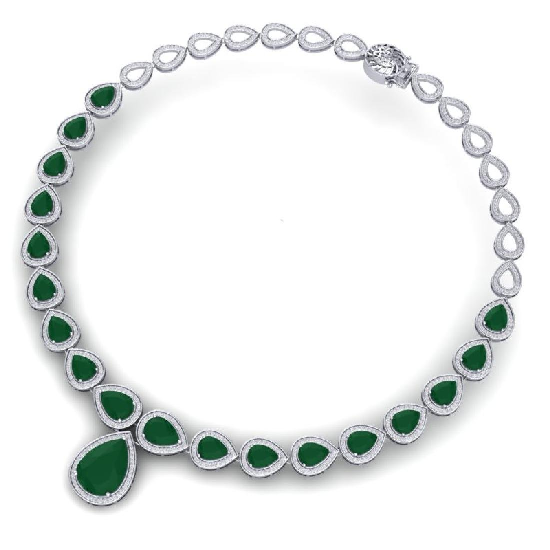 51.41 CTW Royalty Emerald & VS Diamond Necklace 18K - 3