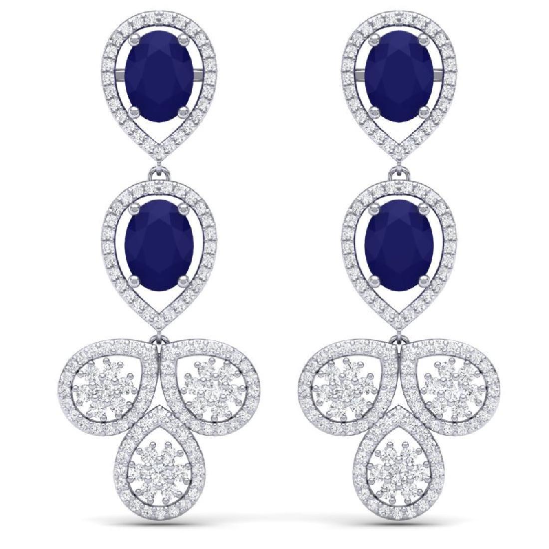 9.75 CTW Royalty Sapphire & VS Diamond Earrings 18K