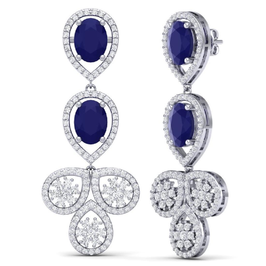 9.75 CTW Royalty Sapphire & VS Diamond Earrings 18K - 3