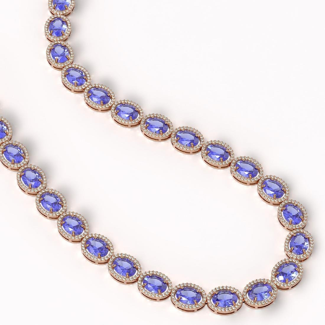 62.99 CTW Tanzanite & Diamond Halo Necklace 10K Rose - 2