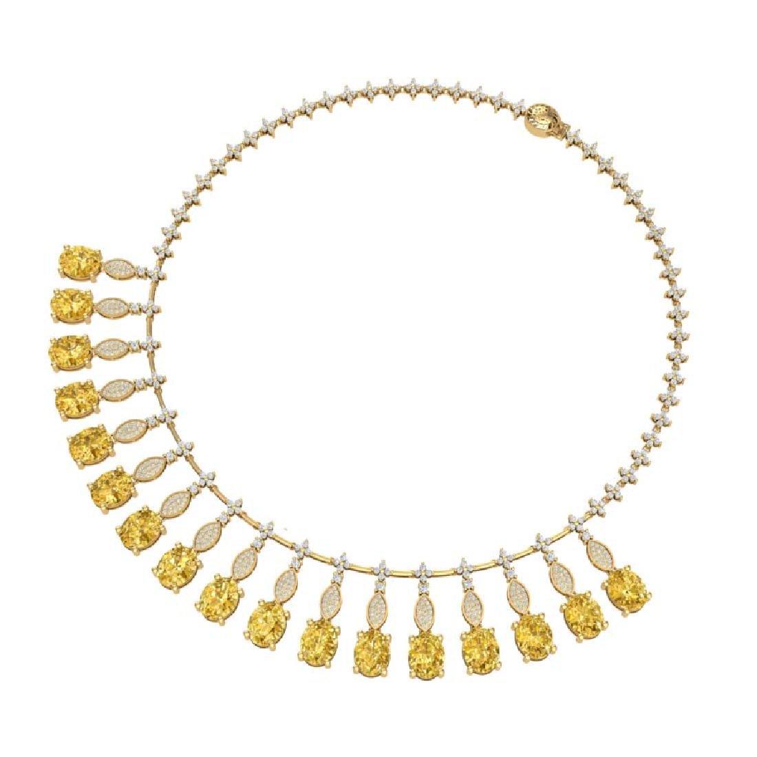50.16 CTW Royalty Canary Citrine & VS Diamond Necklace - 3
