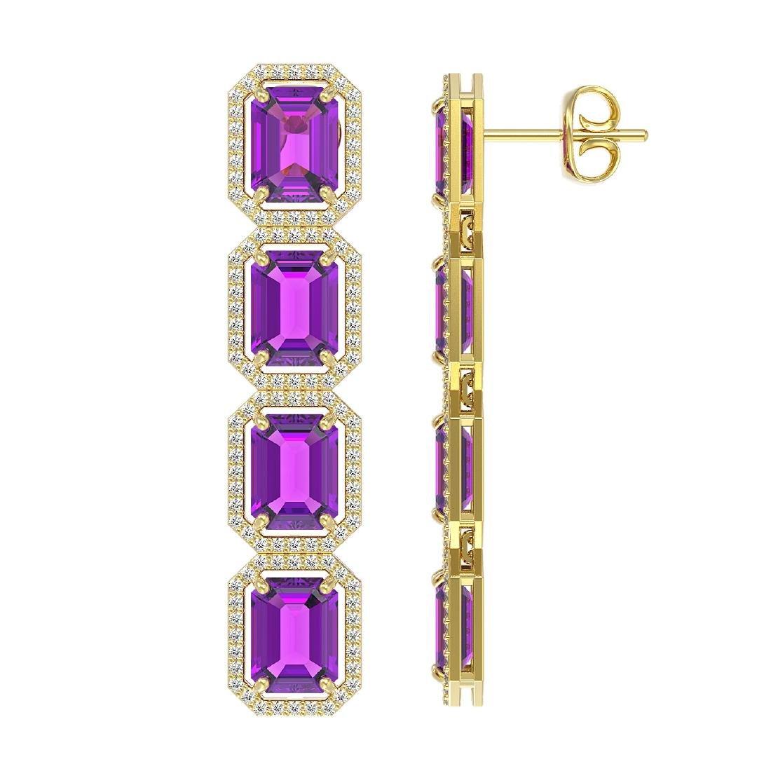 18.59 CTW Amethyst & Diamond Halo Earrings 10K Yellow - 2
