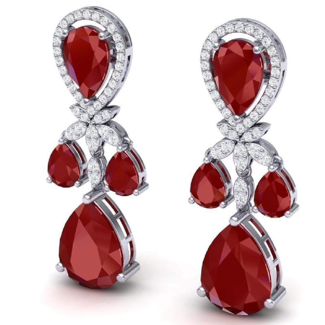 38.29 CTW Royalty Designer Ruby & VS Diamond Earrings - 2