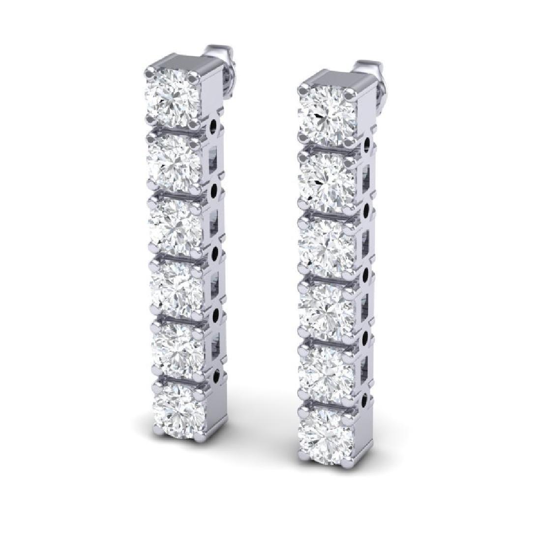 6 CTW Certified SI Diamond Earrings 18K White Gold - 2
