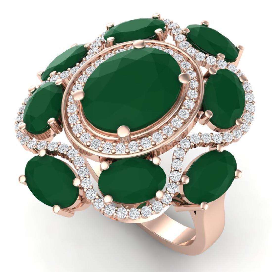 9.86 CTW Royalty Designer Emerald & VS Diamond Ring 18K