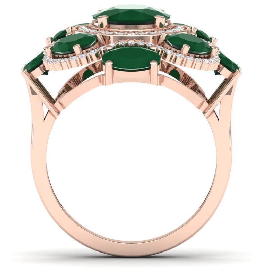 9.86 CTW Royalty Designer Emerald & VS Diamond Ring 18K - 3