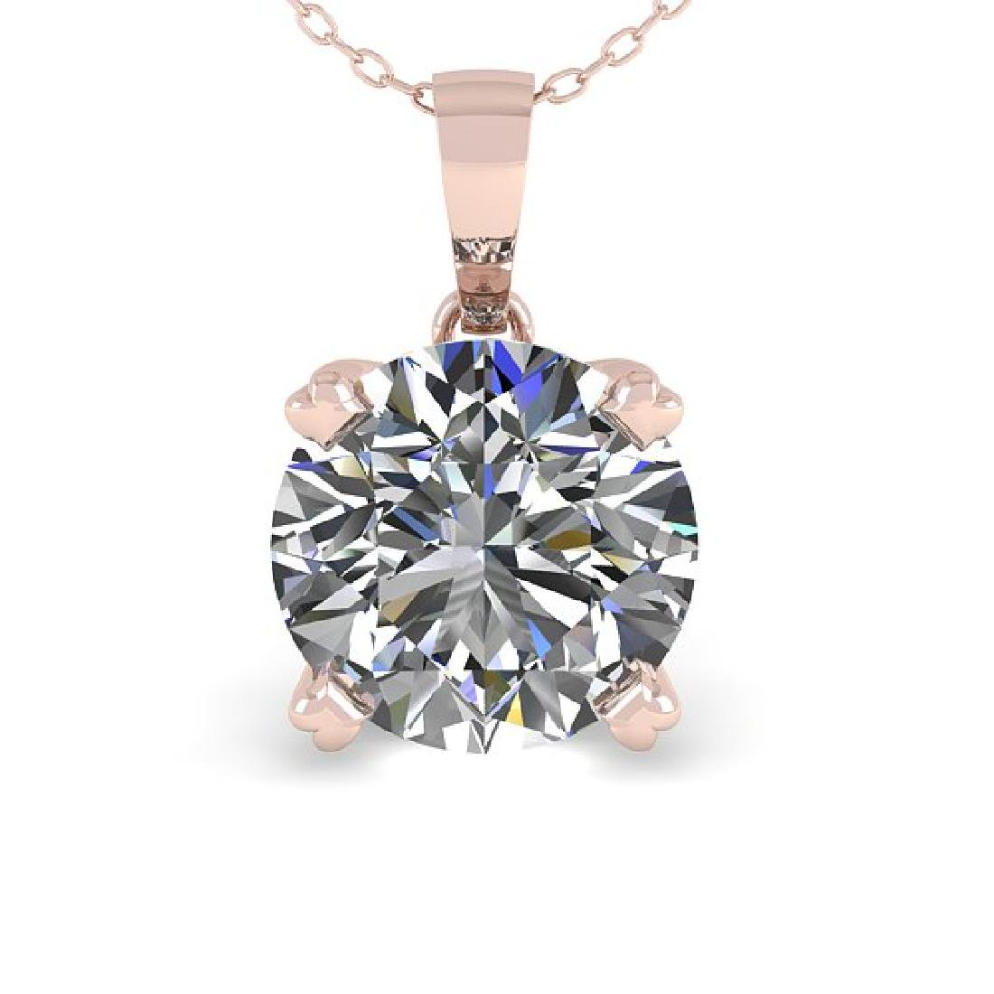 2 CTW Certified VS/SI Diamond Necklace 18K Rose Gold - 2