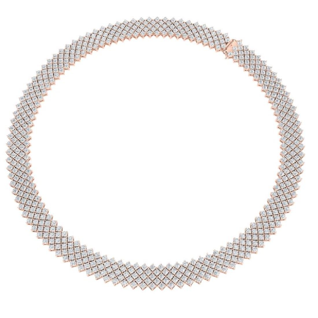40 CTW Certified VS/SI Diamond Necklace 18K Rose Gold - 3