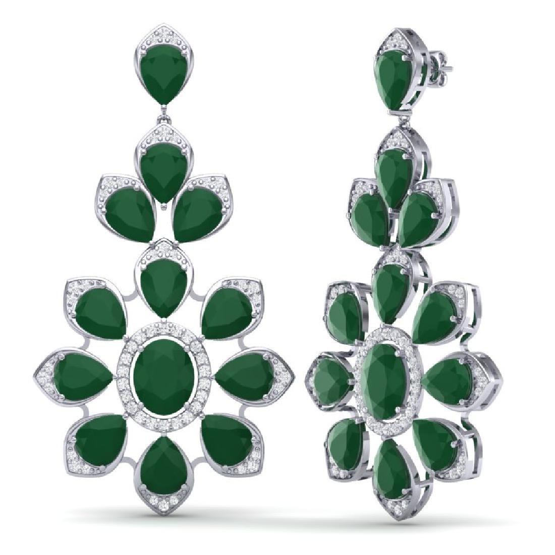 51.8 CTW Royalty Emerald & VS Diamond Earrings 18K - 3