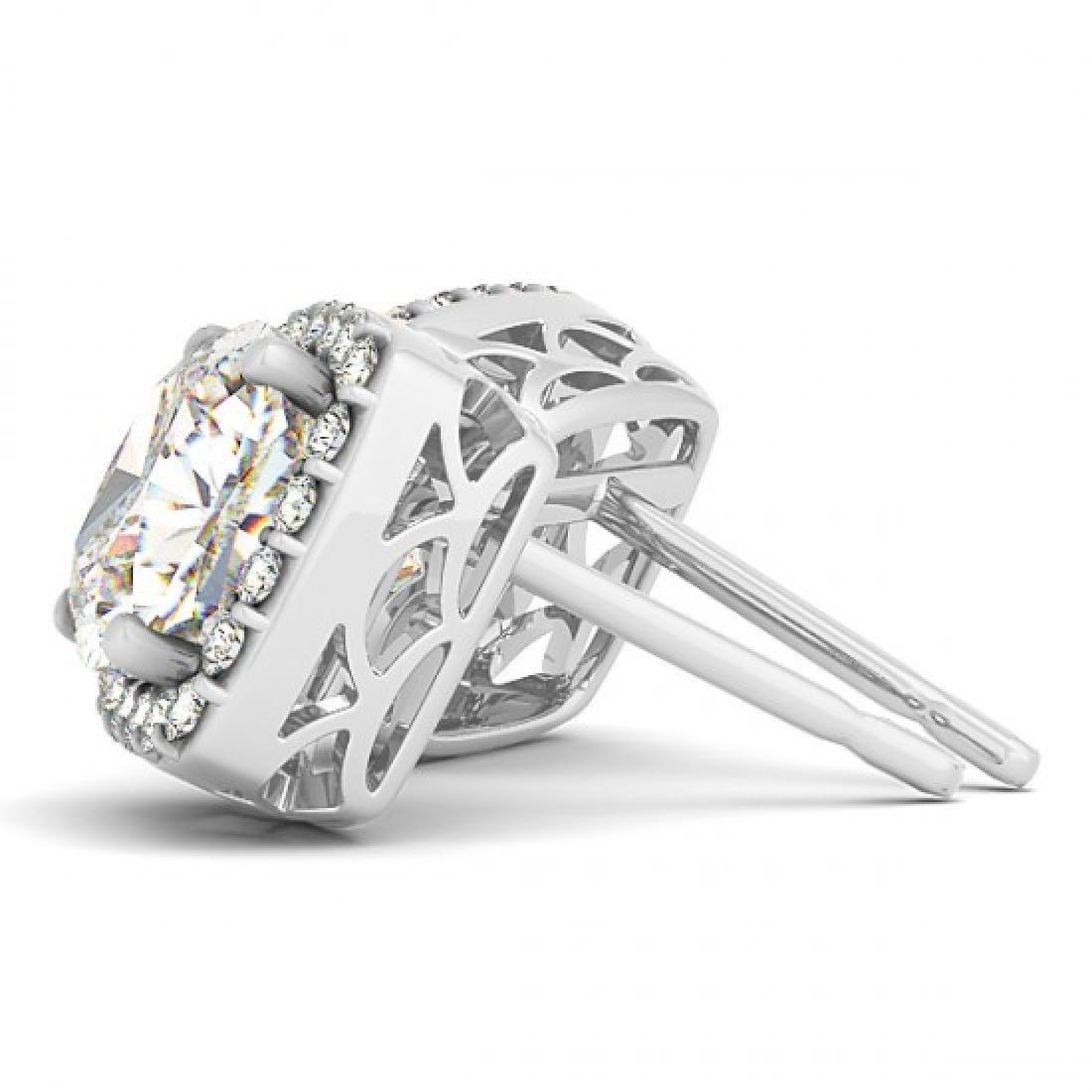 3 CTW Diamond VS/SI Certified Cushion Cut Earrings 14K