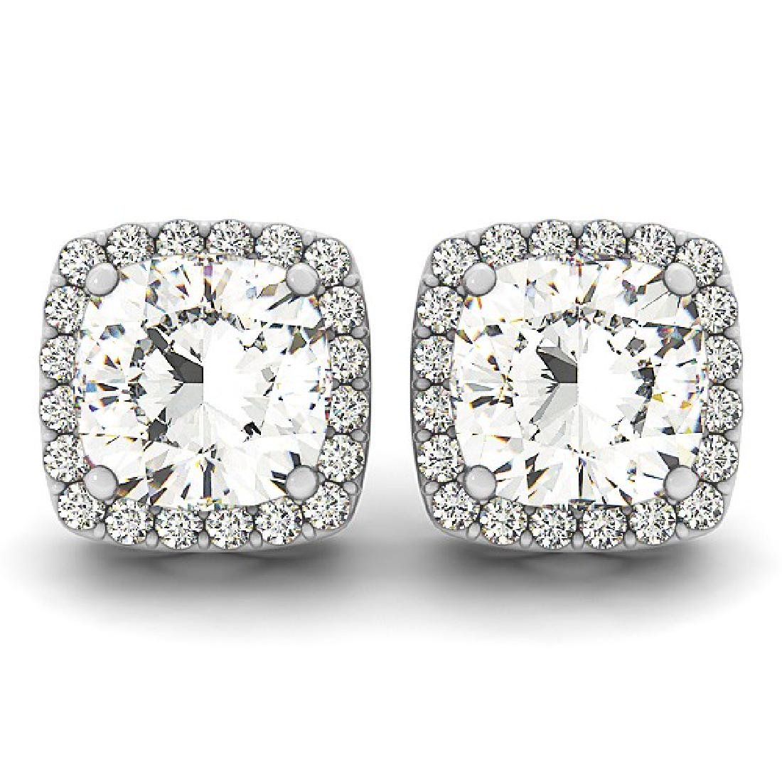 3 CTW Diamond VS/SI Certified Cushion Cut Earrings 14K - 2