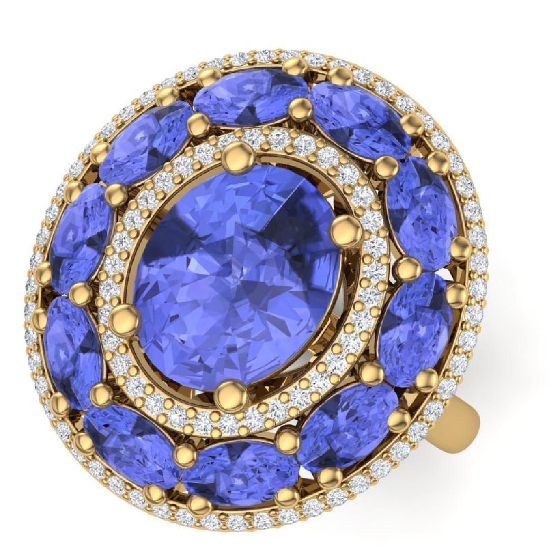 8.49 CTW Royalty Tanzanite & VS Diamond Ring 18K Yellow
