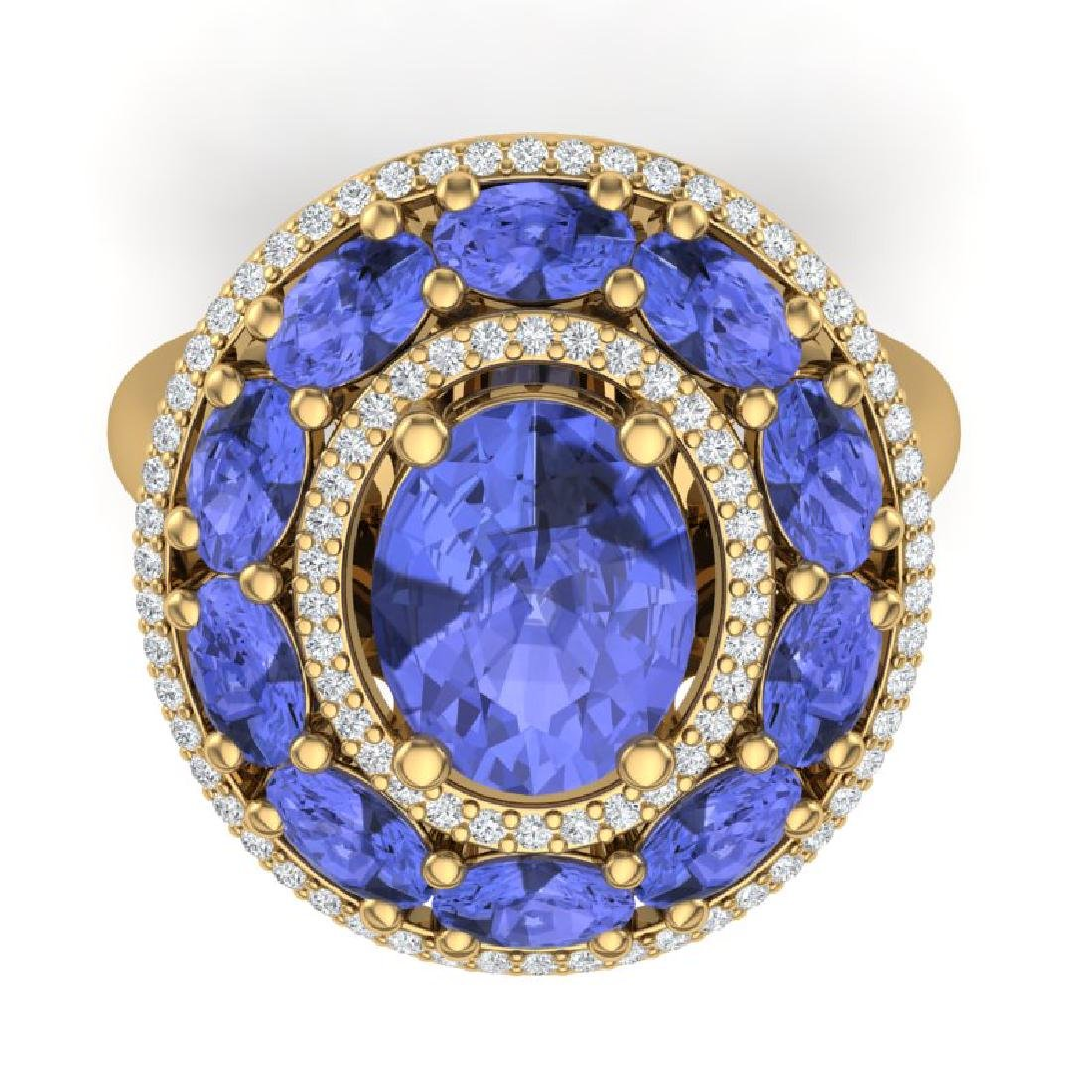 8.49 CTW Royalty Tanzanite & VS Diamond Ring 18K Yellow - 2