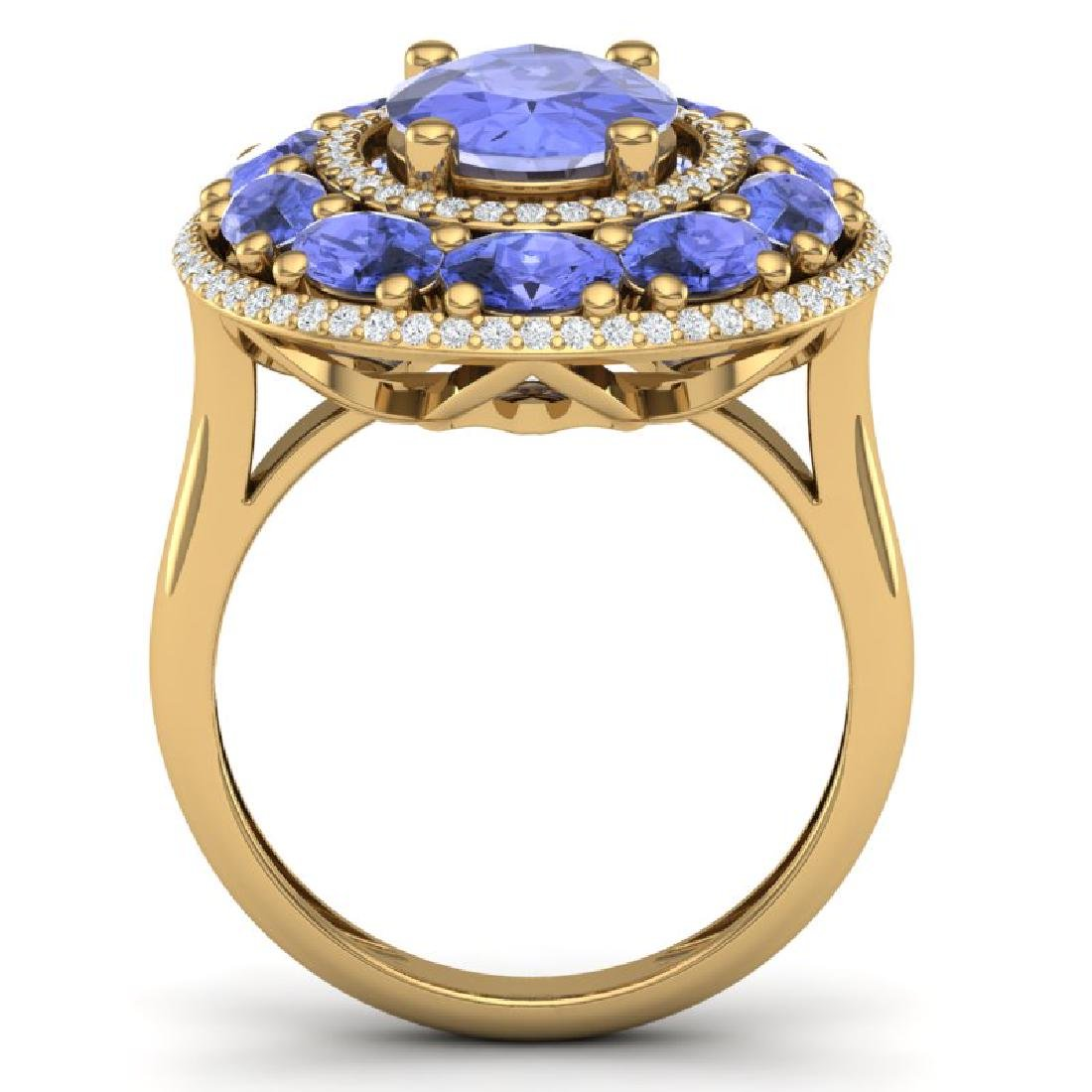 8.49 CTW Royalty Tanzanite & VS Diamond Ring 18K Yellow - 3