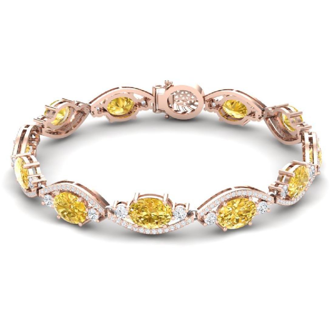 18.3 CTW Royalty Canary Citrine & VS Diamond Bracelet - 3