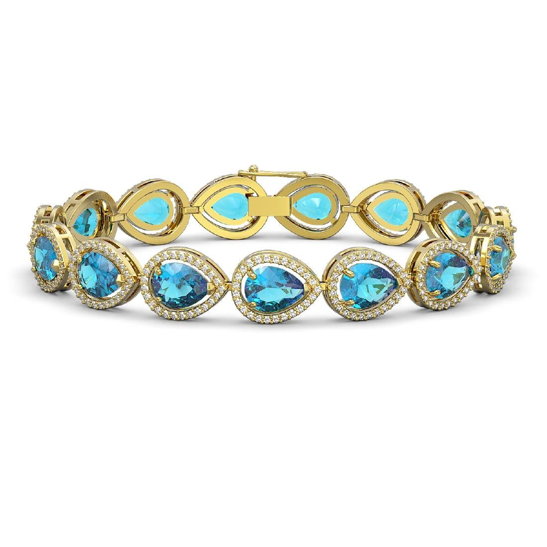 20.3 CTW Swiss Topaz & Diamond Halo Bracelet 10K Yellow
