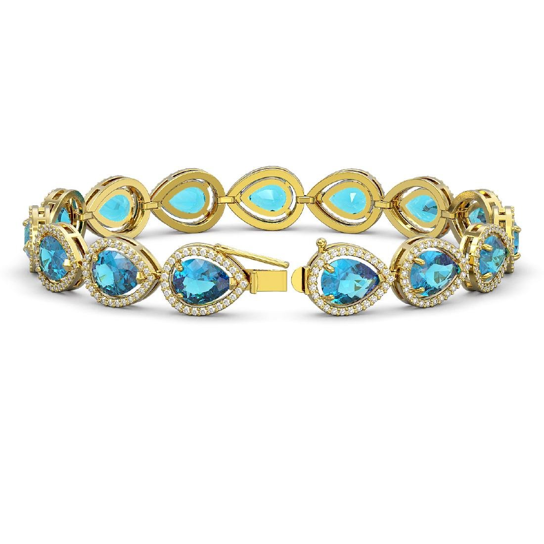 20.3 CTW Swiss Topaz & Diamond Halo Bracelet 10K Yellow - 2
