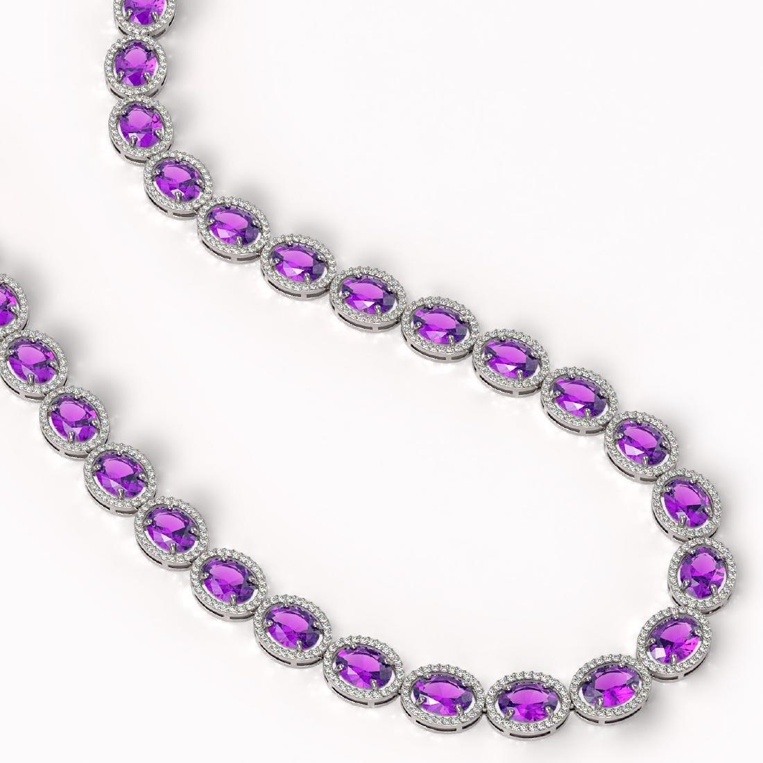 57.07 CTW Amethyst & Diamond Halo Necklace 10K White - 2