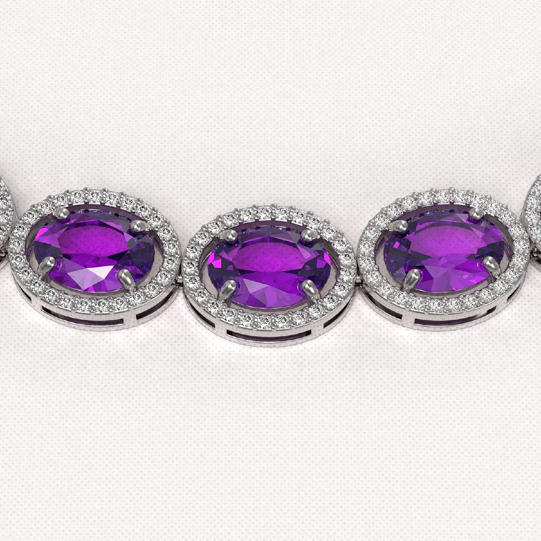 57.07 CTW Amethyst & Diamond Halo Necklace 10K White - 3