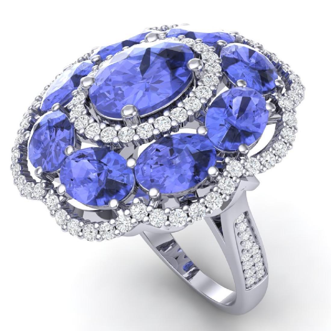 15.24 CTW Royalty Tanzanite & VS Diamond Ring 18K White