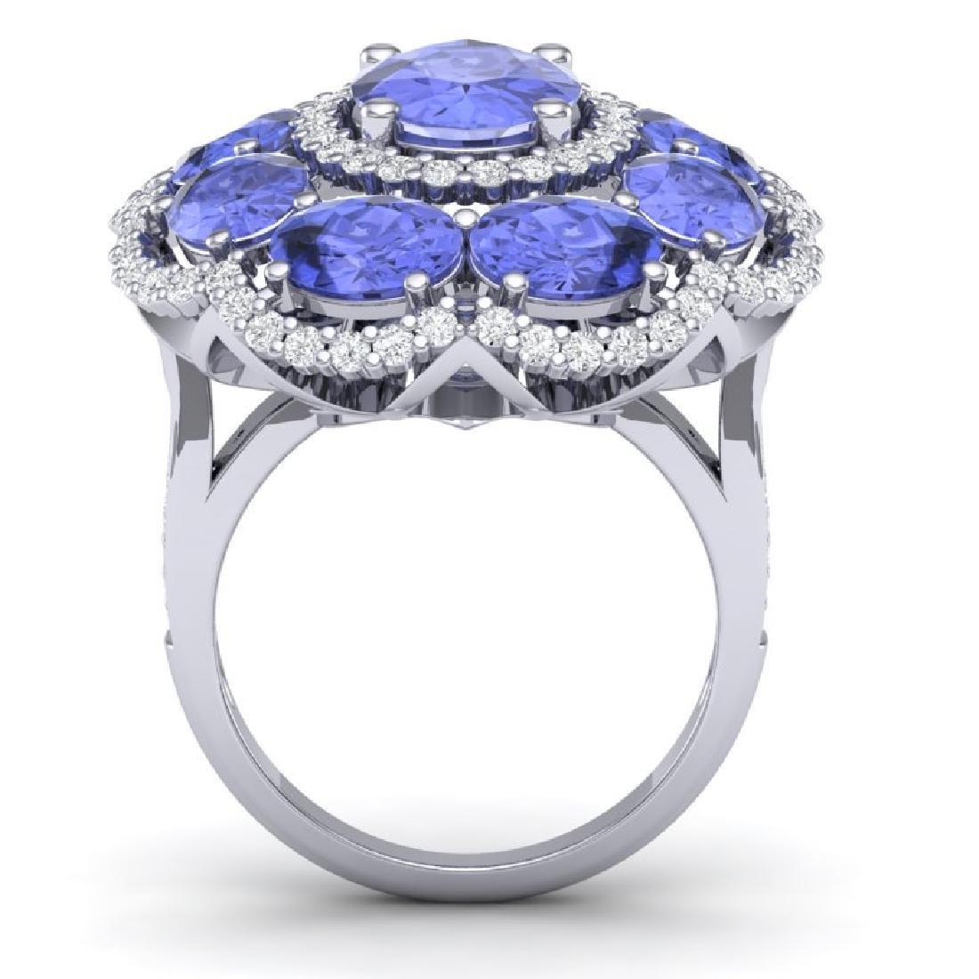 15.24 CTW Royalty Tanzanite & VS Diamond Ring 18K White - 3