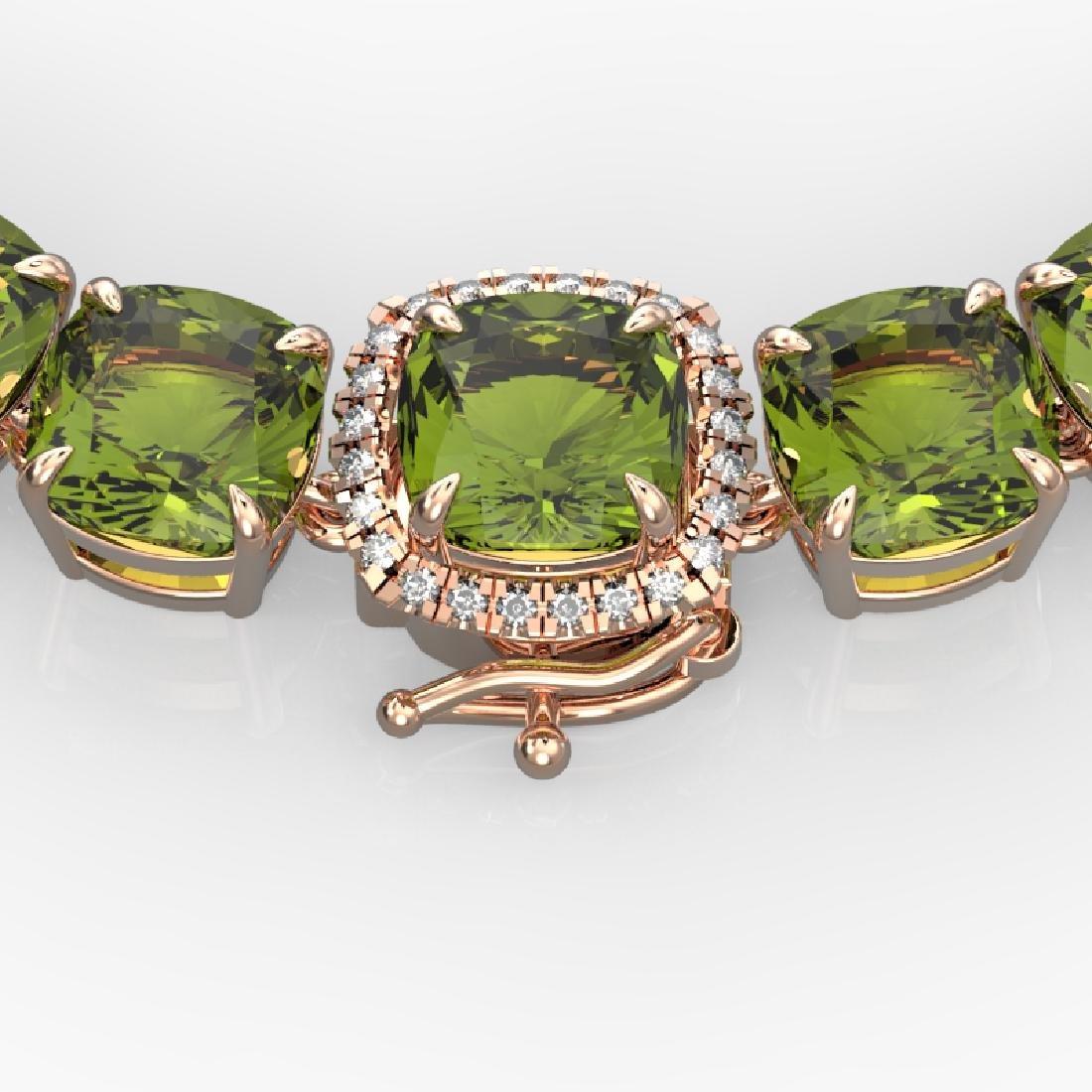100 CTW Green Tourmaline & VS/SI Diamond Necklace 14K