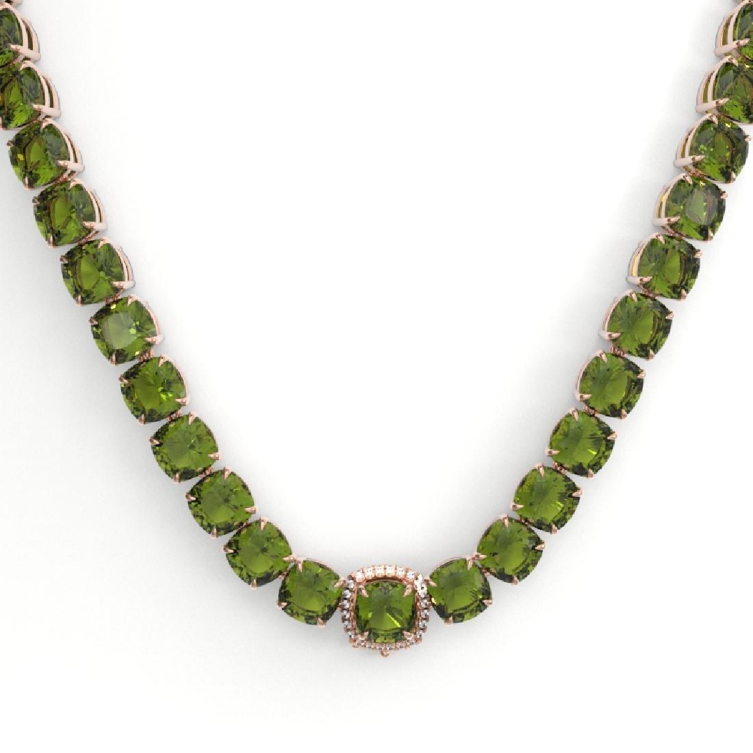 100 CTW Green Tourmaline & VS/SI Diamond Necklace 14K - 2