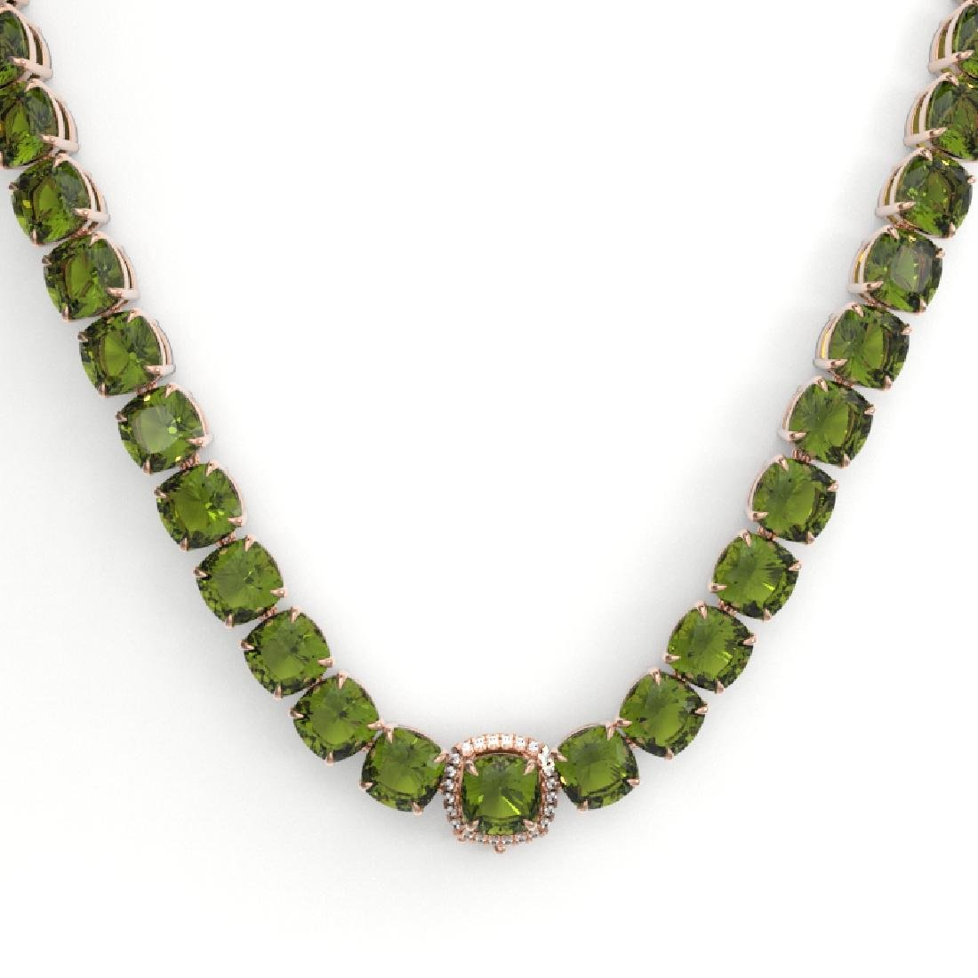 100 CTW Green Tourmaline & VS/SI Diamond Necklace 14K - 2
