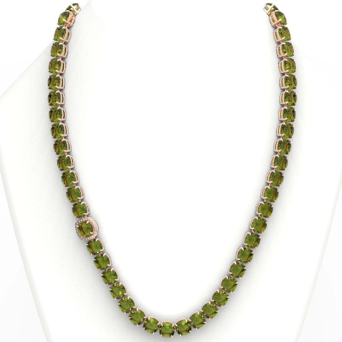 100 CTW Green Tourmaline & VS/SI Diamond Necklace 14K - 3