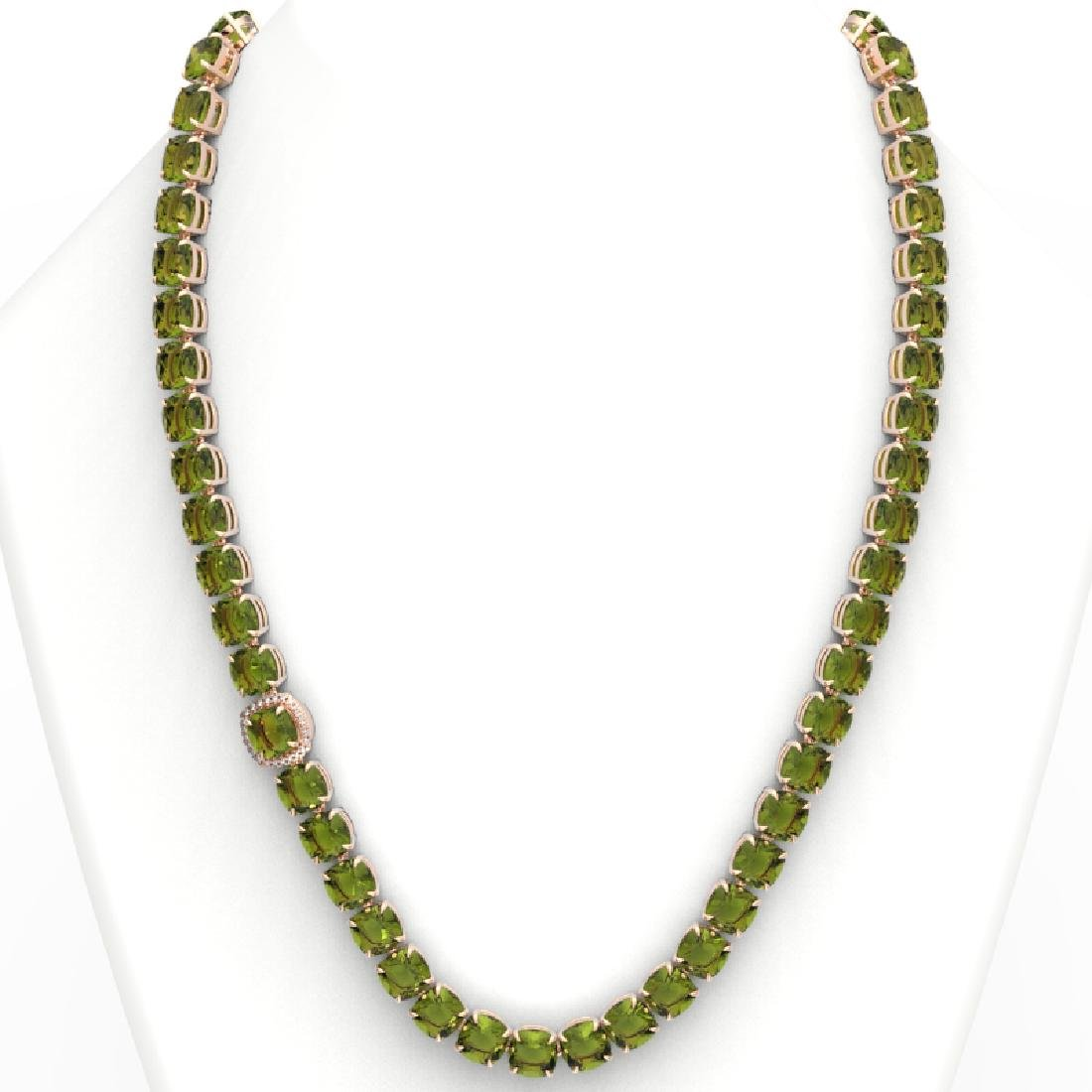100 CTW Green Tourmaline & VS/SI Diamond Necklace 14K - 3
