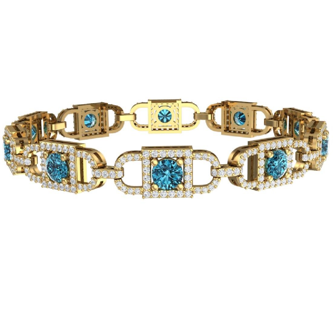 8 CTW SI/I Intense Blue And White Diamond Bracelet 18K - 2