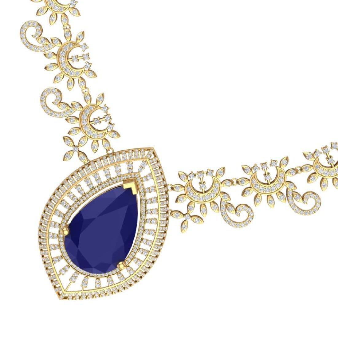 65.75 CTW Royalty Sapphire & VS Diamond Necklace 18K