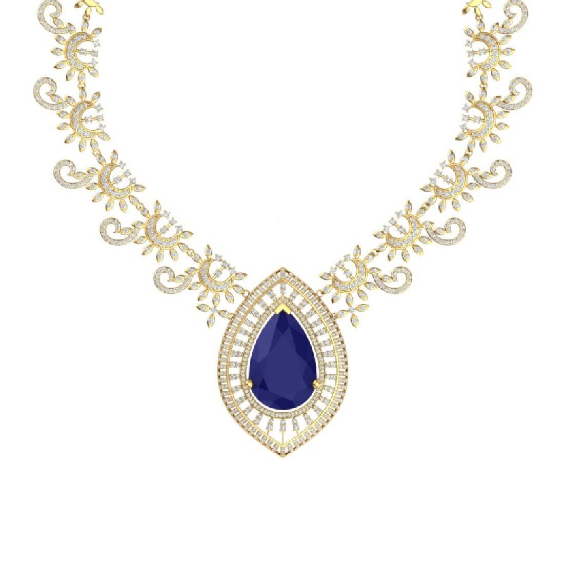 65.75 CTW Royalty Sapphire & VS Diamond Necklace 18K - 2