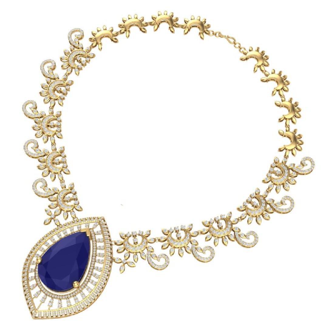 65.75 CTW Royalty Sapphire & VS Diamond Necklace 18K - 3