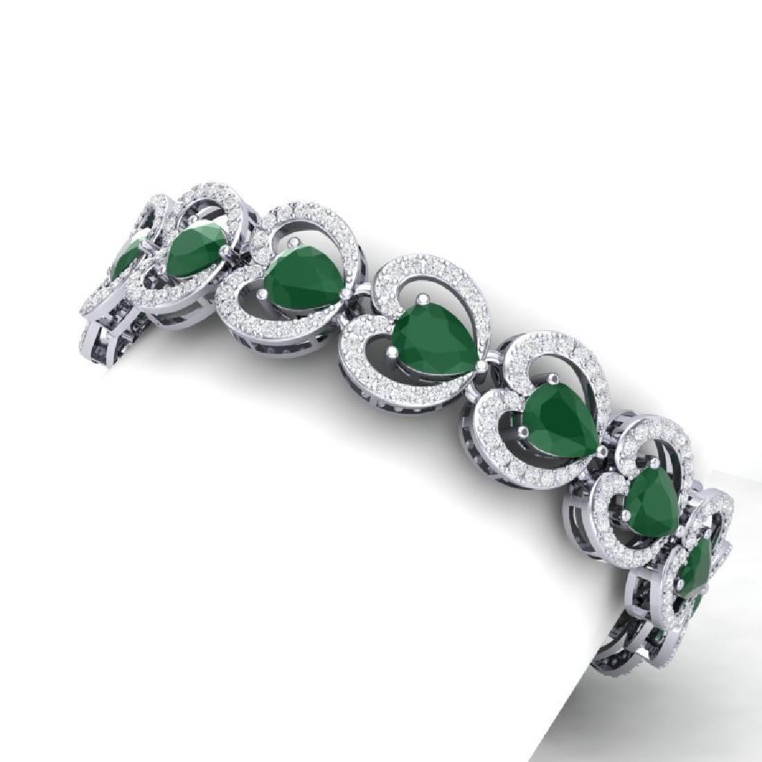 32.15 CTW Royalty Emerald & VS Diamond Bracelet 18K - 2