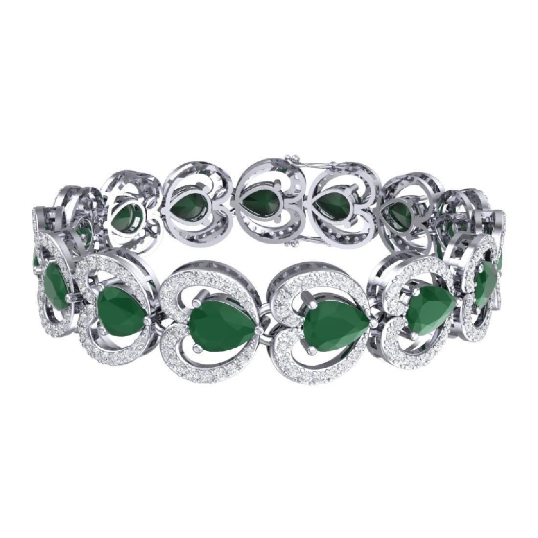 32.15 CTW Royalty Emerald & VS Diamond Bracelet 18K - 3