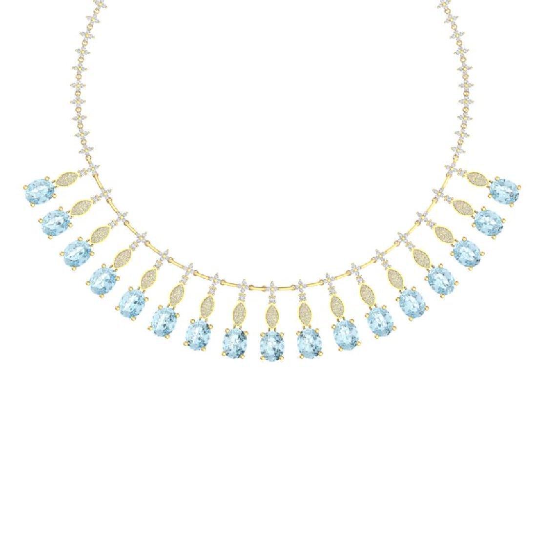 65.76 CTW Royalty Sky Topaz & VS Diamond Necklace 18K - 2
