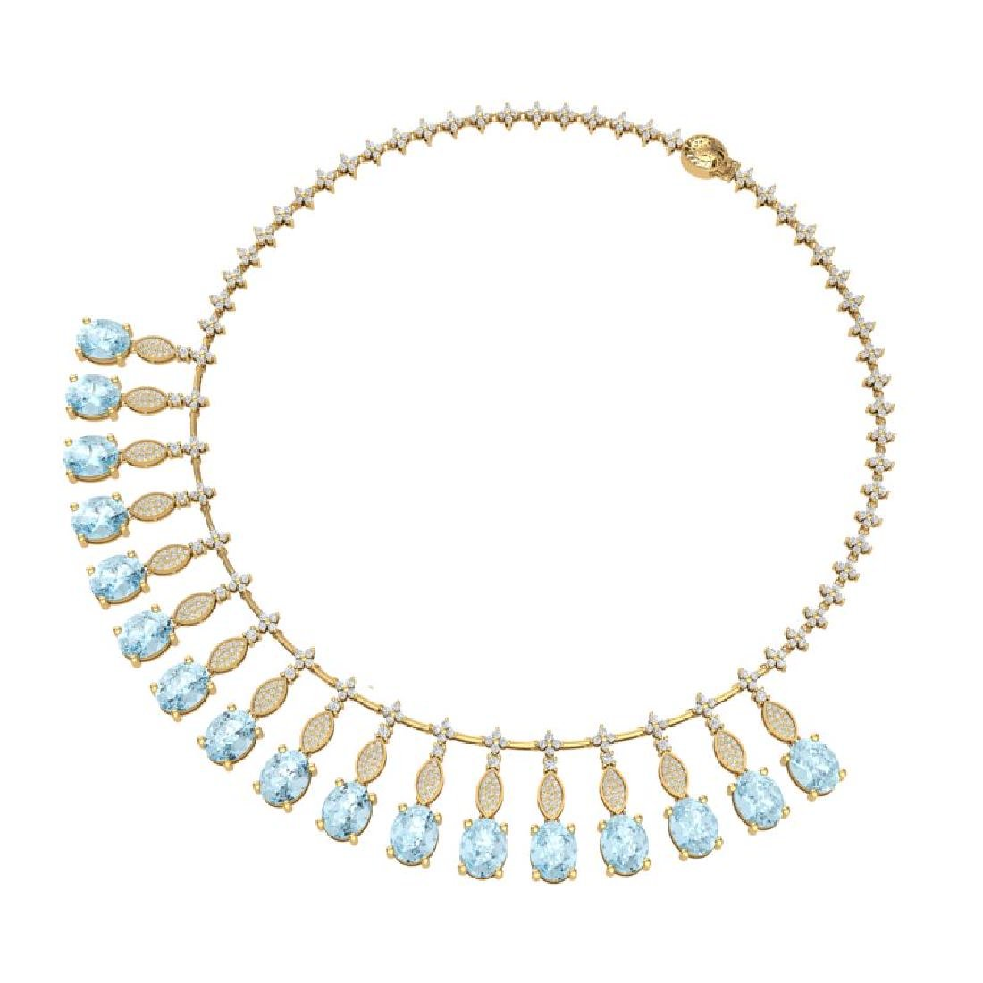 65.76 CTW Royalty Sky Topaz & VS Diamond Necklace 18K - 3