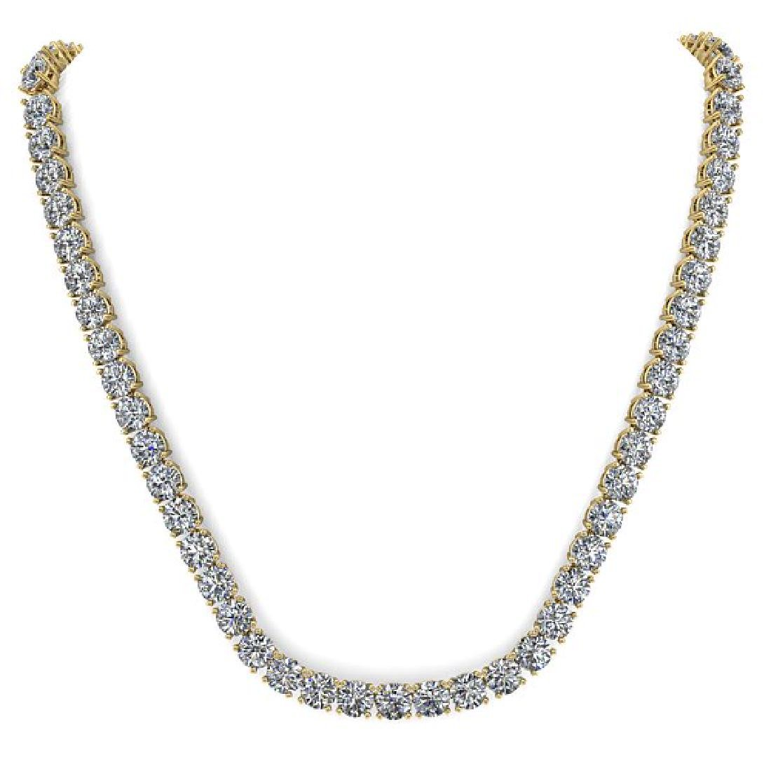 30 CTW Certified SI Diamond Necklace 14K Yellow Gold - 3