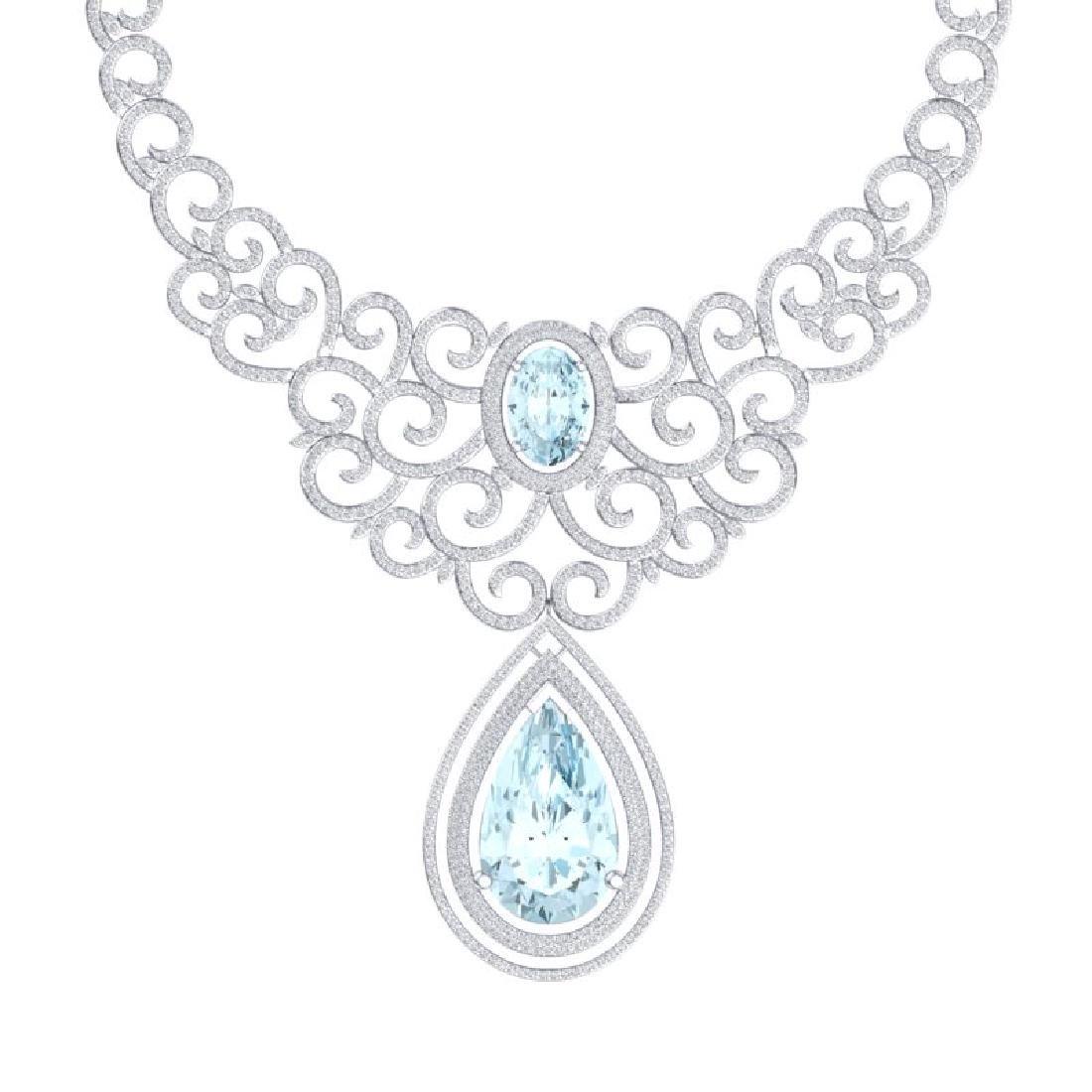 89.32 CTW Royalty Sky Topaz & VS Diamond Necklace 18K