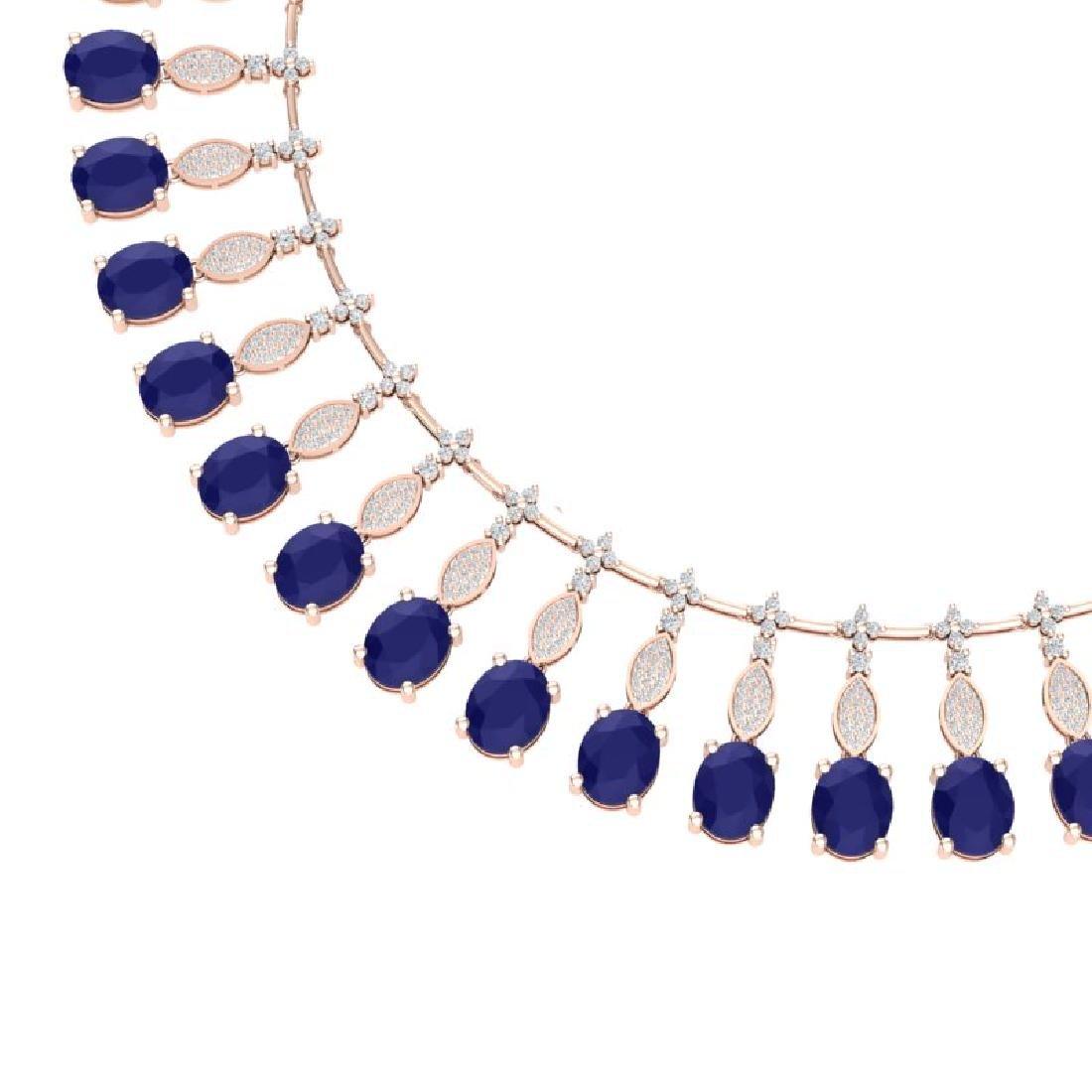 65.62 CTW Royalty Sapphire & VS Diamond Necklace 18K